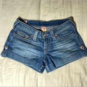 True Religion Blue Jean Cuffed Shorts Size 27